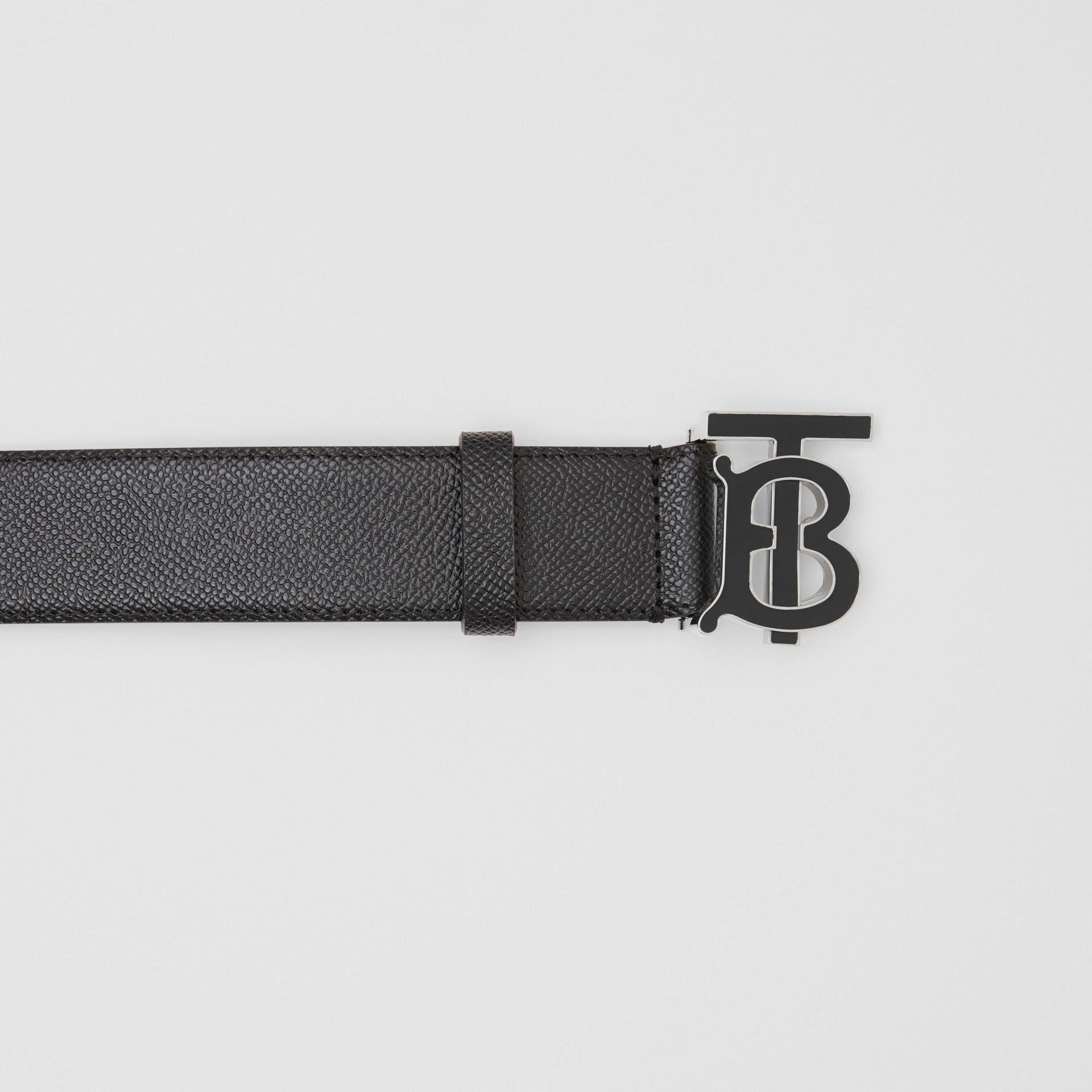Monogram Motif Grainy Leather Belt in Black - Men | Burberry Singapore - gallery image 1