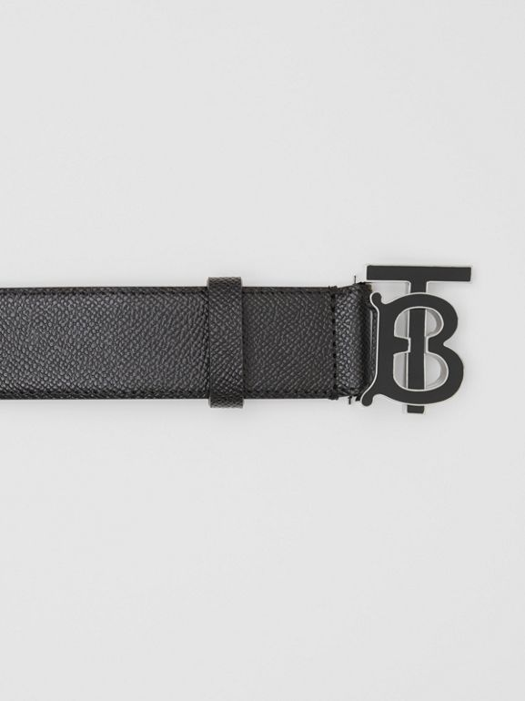 Monogram Motif Grainy Leather Belt in Black - Men | Burberry Singapore - cell image 1