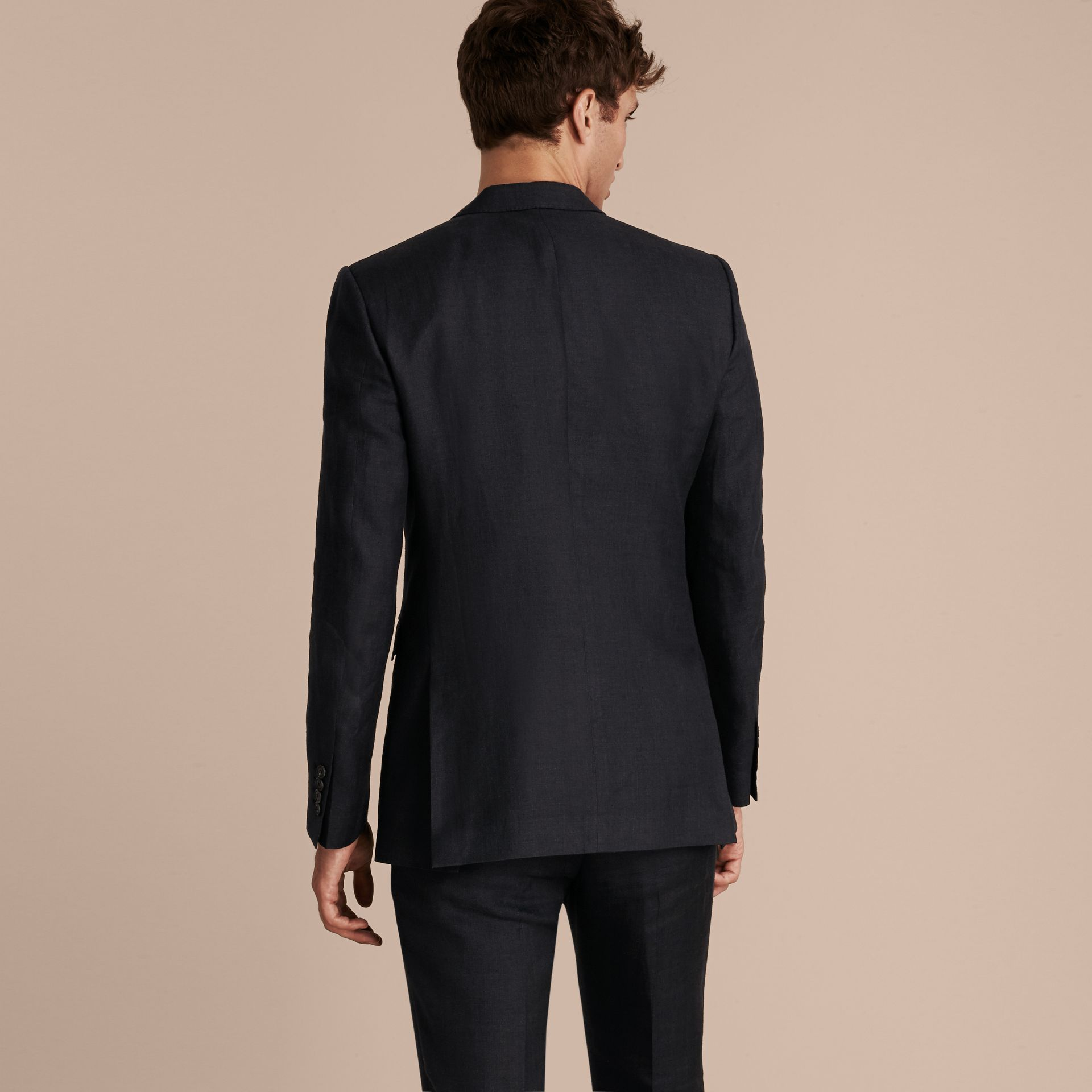 Dark navy Modern Fit Linen Wool Silk Jacket - gallery image 3
