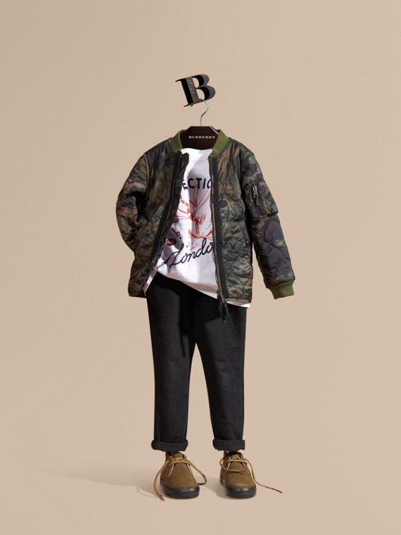 Camouflage Quilted Nylon Bomber Jacket