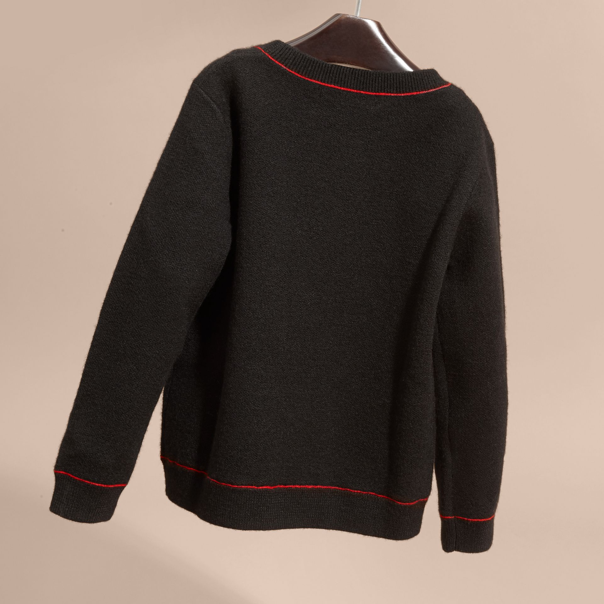 Graphic Jacquard Cashmere Sweater - gallery image 4