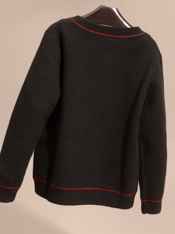 Black Graphic Jacquard Cashmere Sweater - cell image 3