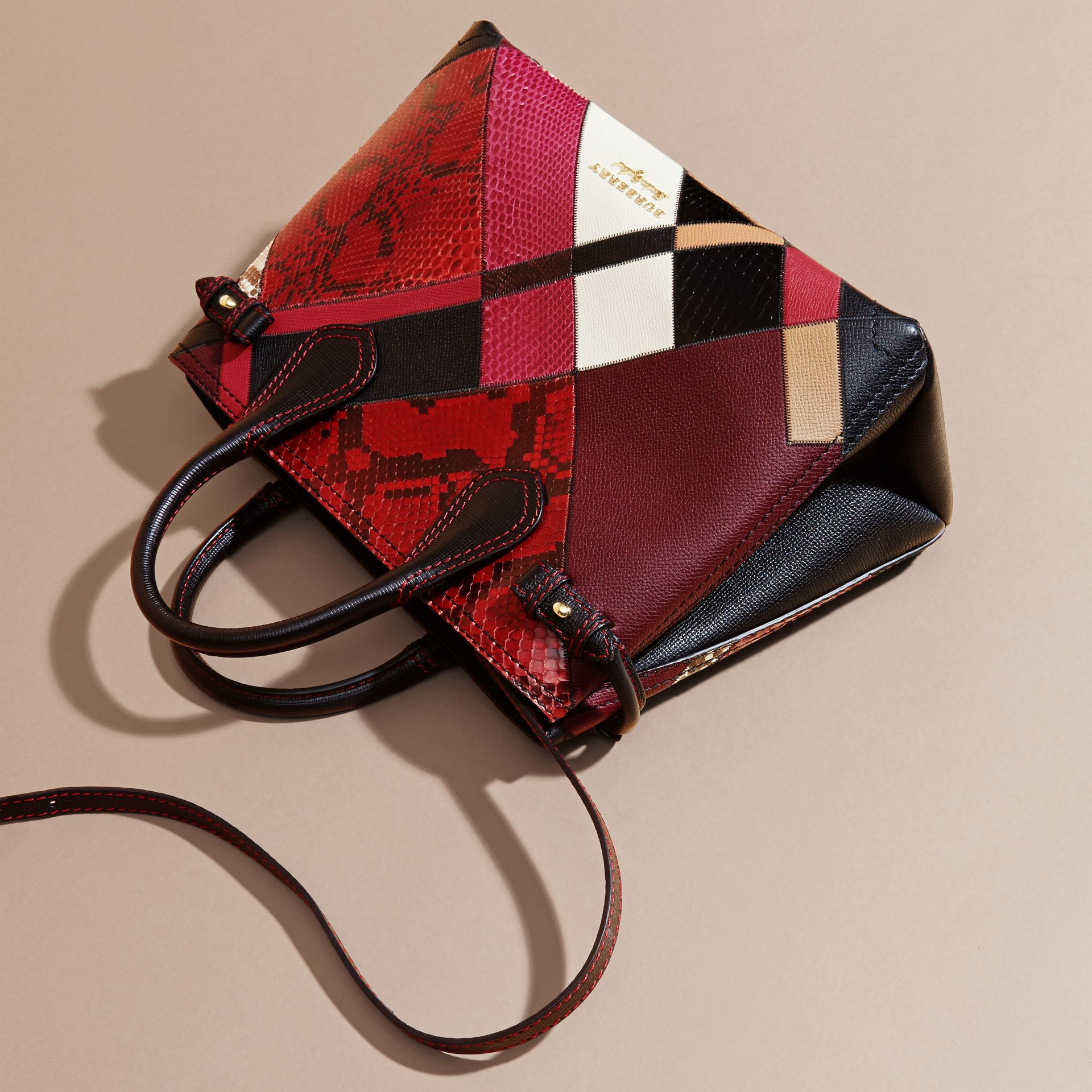 The Medium Banner in Patchwork Python and Leather in Pink - Women | Burberry United States - gallery image 8