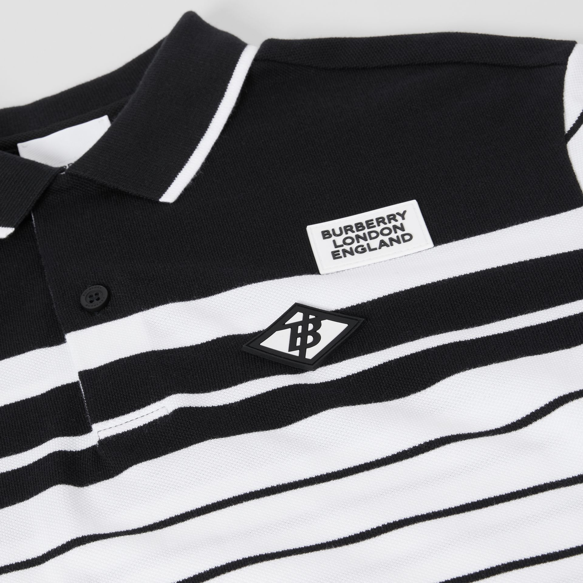 Logo Graphic Striped Cotton Piqué Polo Shirt in Multicolour | Burberry - gallery image 1