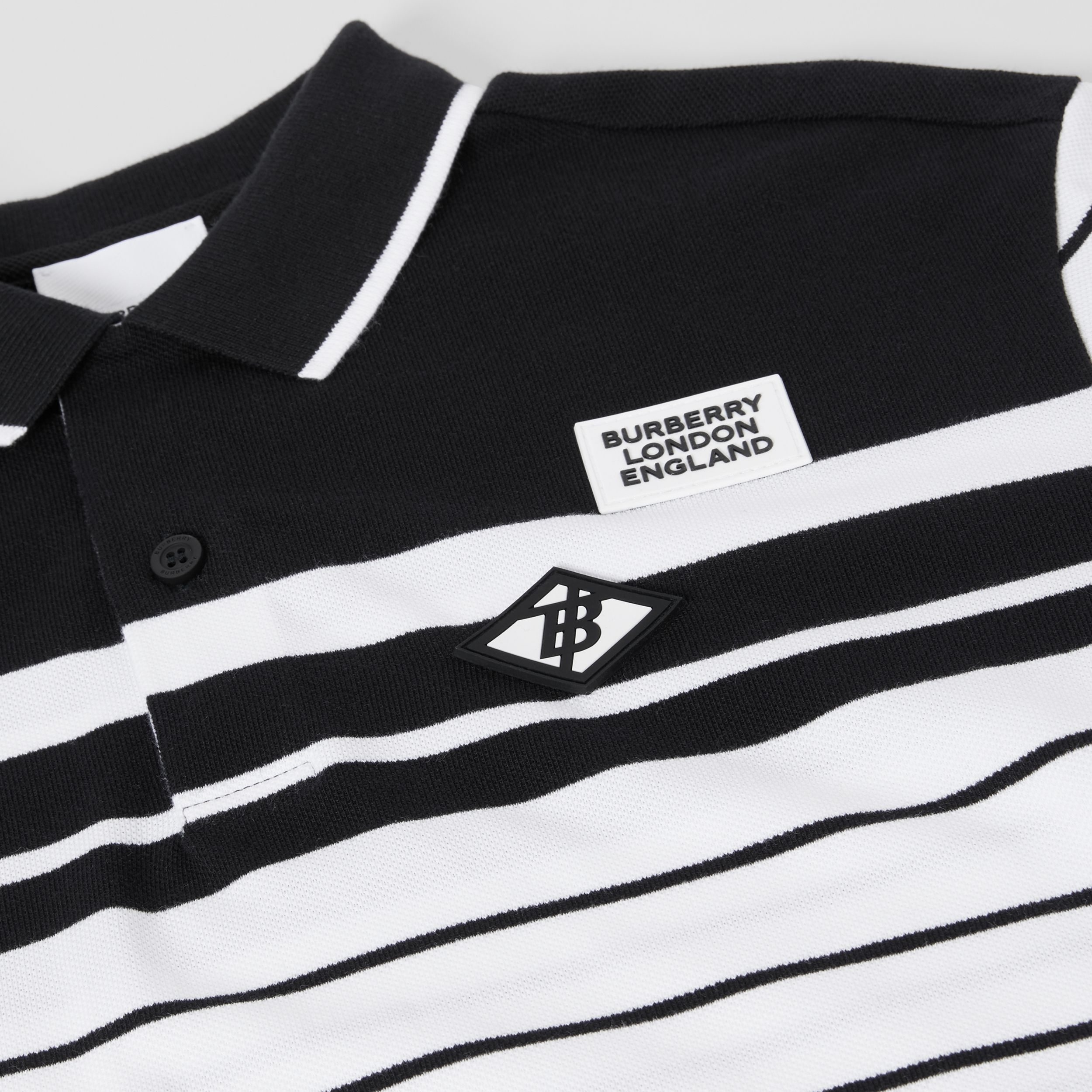 Logo Graphic Striped Cotton Piqué Polo Shirt in Multicolour | Burberry - 2