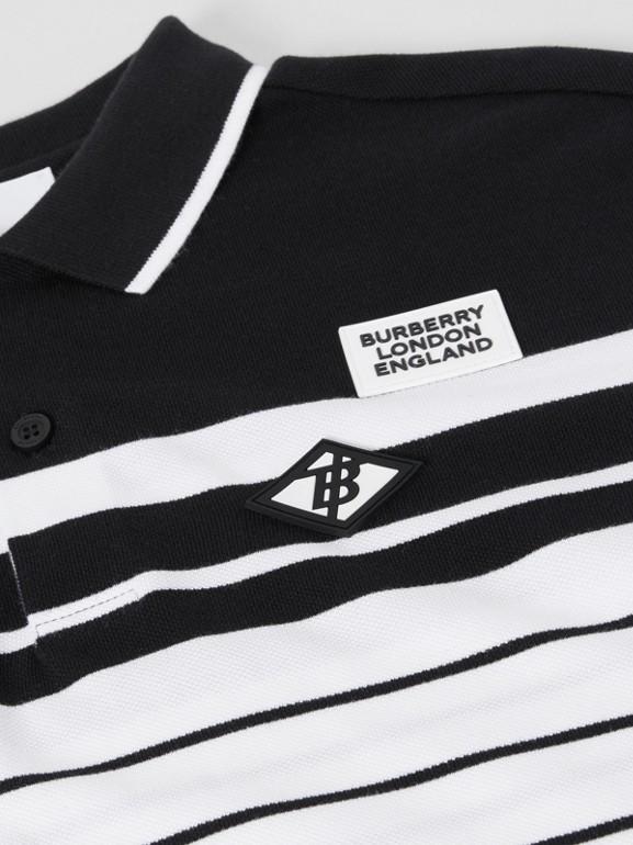 Logo Graphic Striped Cotton Piqué Polo Shirt in Multicolour | Burberry United Kingdom - cell image 1