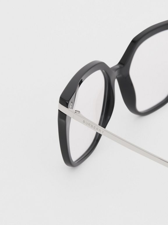 Monogram Motif Square Optical Frames in Black - Women | Burberry Canada - cell image 1