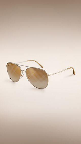 Check Lens Aviator Sunglasses
