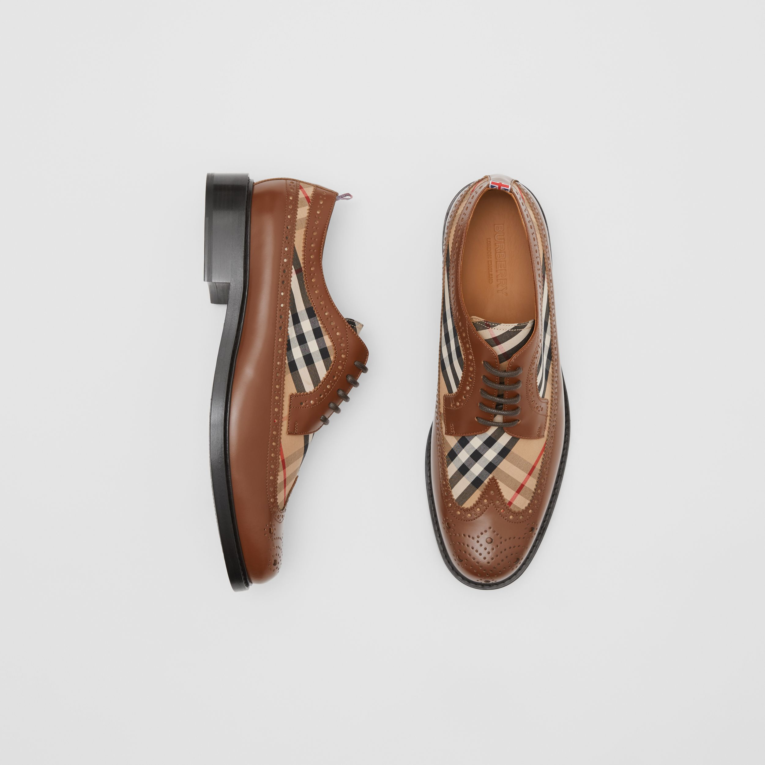 Brogue Detail Leather and Vintage Check Derby Shoes in Tan/archive Beige - Men | Burberry Hong Kong S.A.R. - 1