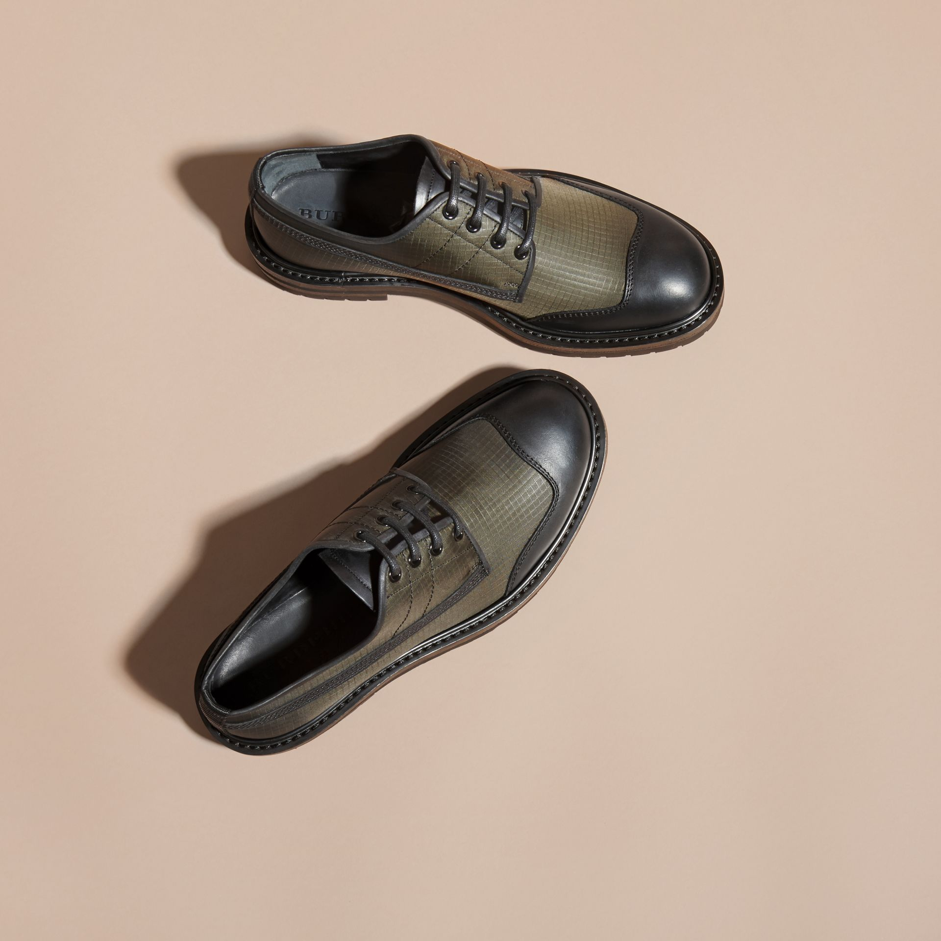 Dark brown Textured Check Leather Trim Derby Shoes Dark Brown - gallery image 3