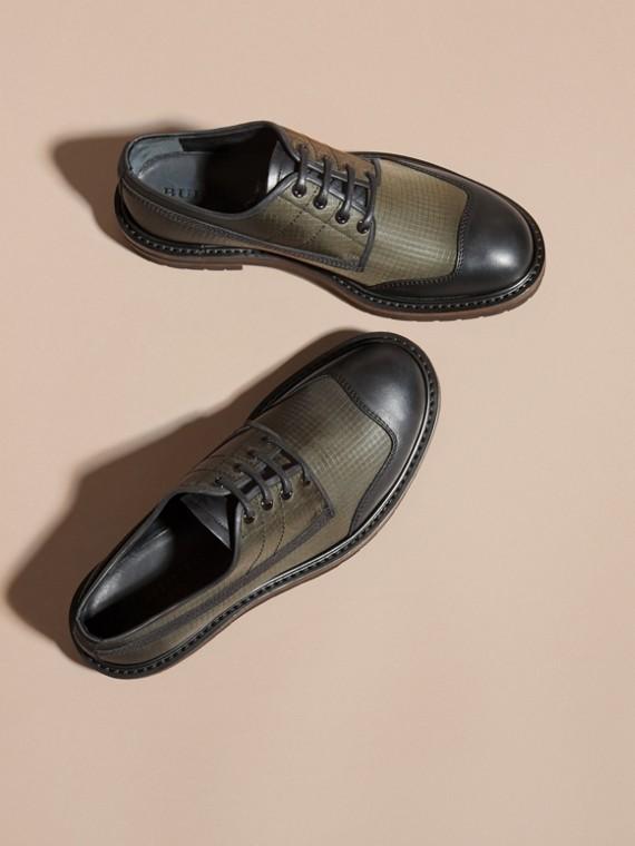 Dark brown Textured Check Leather Trim Derby Shoes Dark Brown - cell image 2