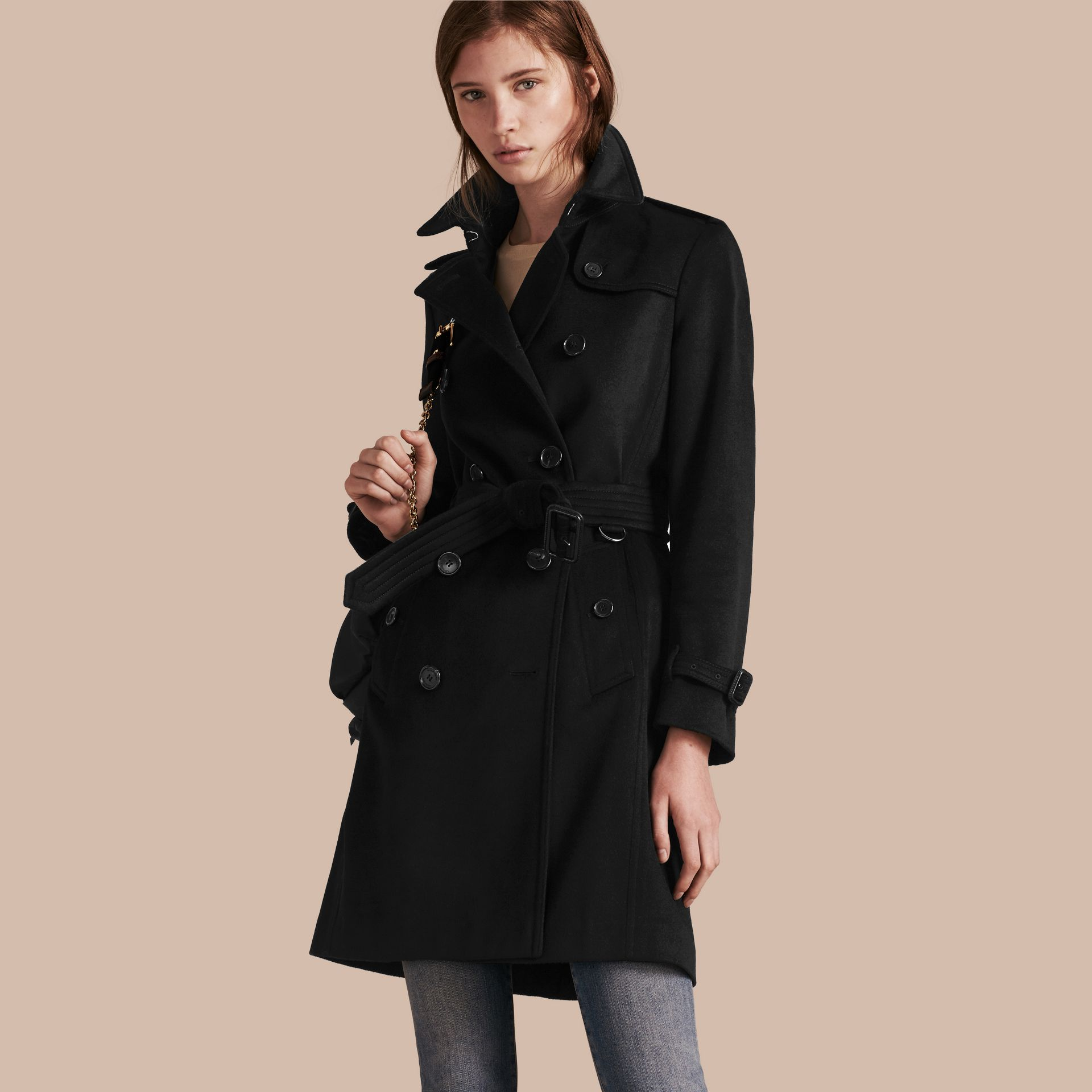 Black Kensington Fit Cashmere Trench Coat Black - gallery image 1