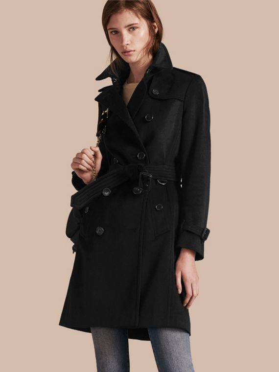 Kensington Fit Cashmere Trench Coat Black