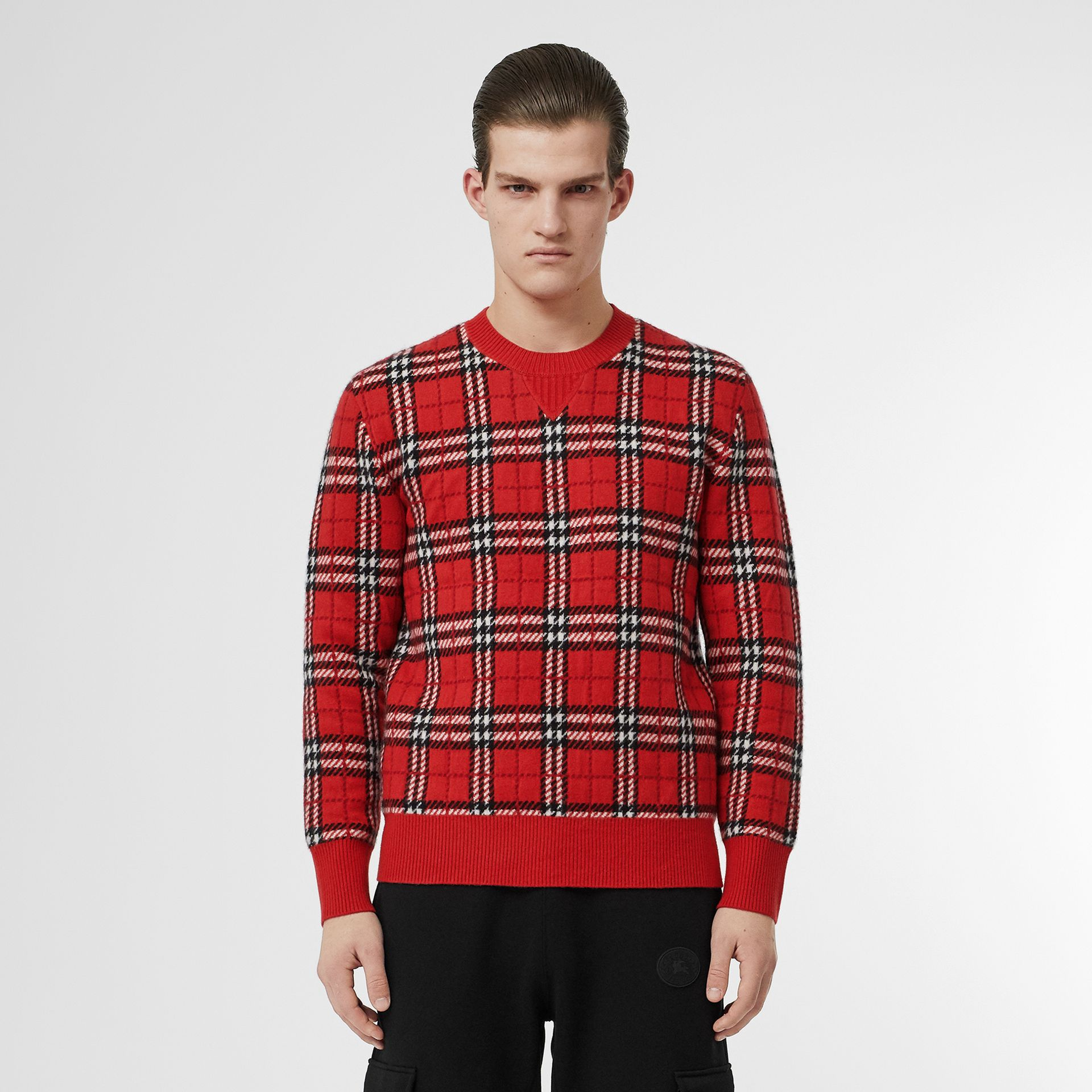 Check Cashmere Jacquard Sweater in Parade Red - Men | Burberry - gallery image 0