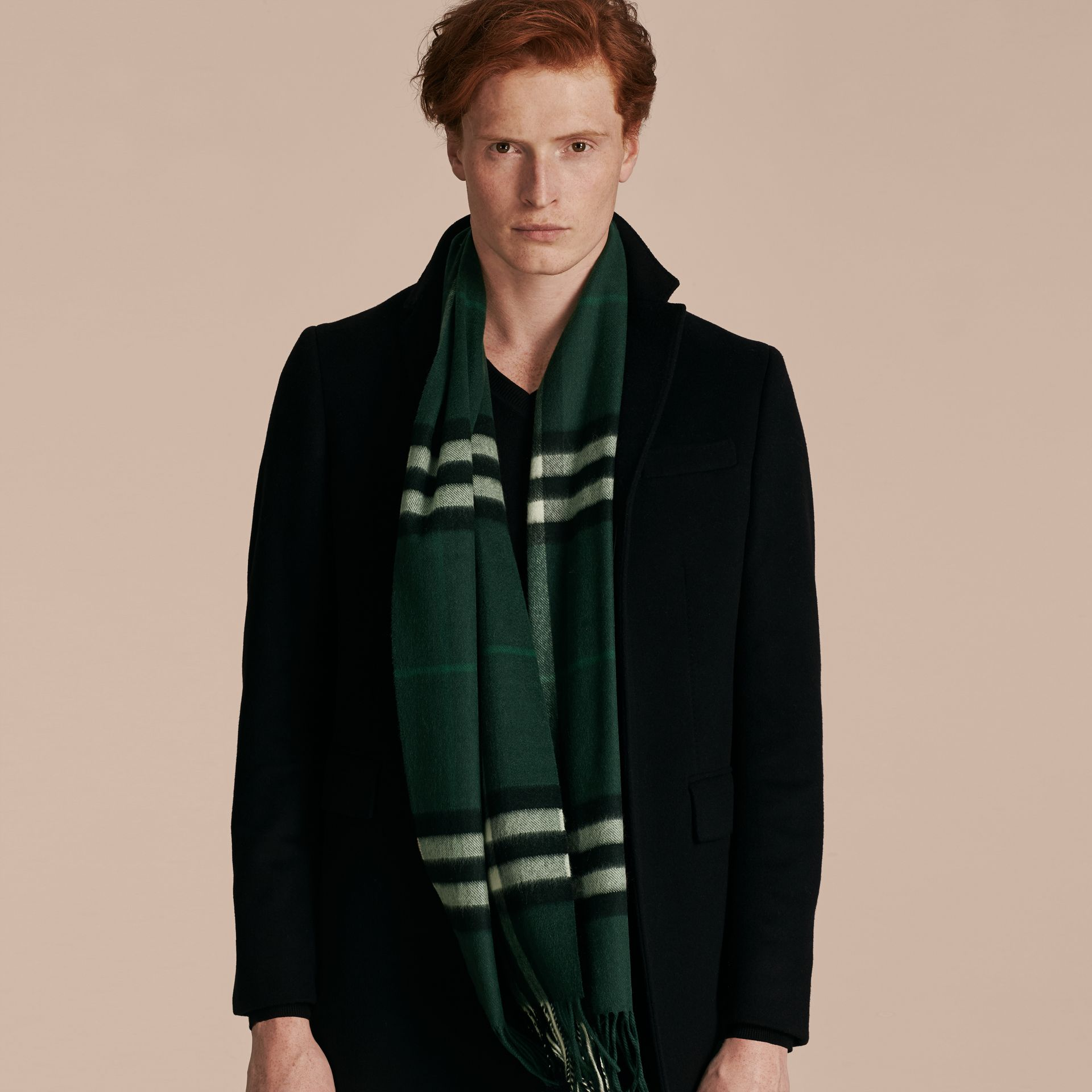 Dark forest green The Classic Cashmere Scarf in Check Dark Forest Green - gallery image 4