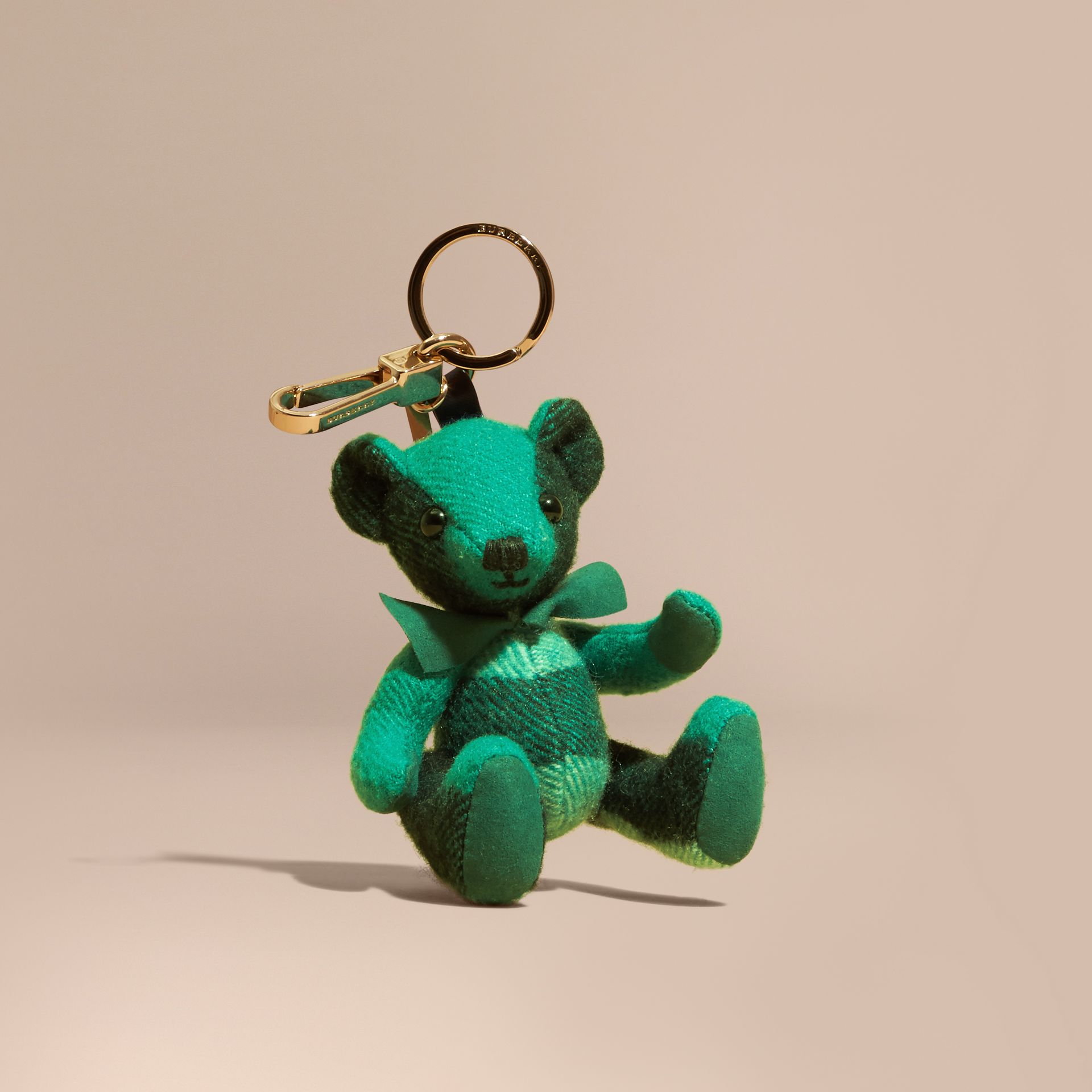 Thomas Bear Charm in Check Cashmere in Emerald | Burberry - gallery image 1