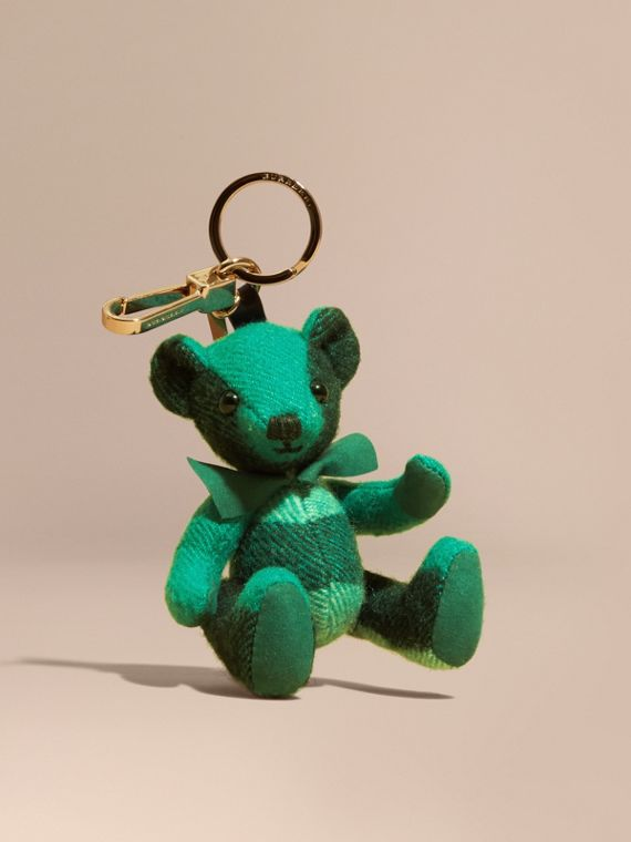 Thomas Bear Charm in Check Cashmere Emerald