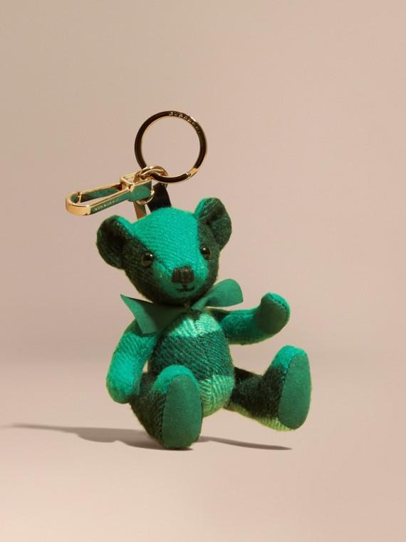 Teddybär-Anhänger aus Kaschmir mit Karomuster Smaragdgrün