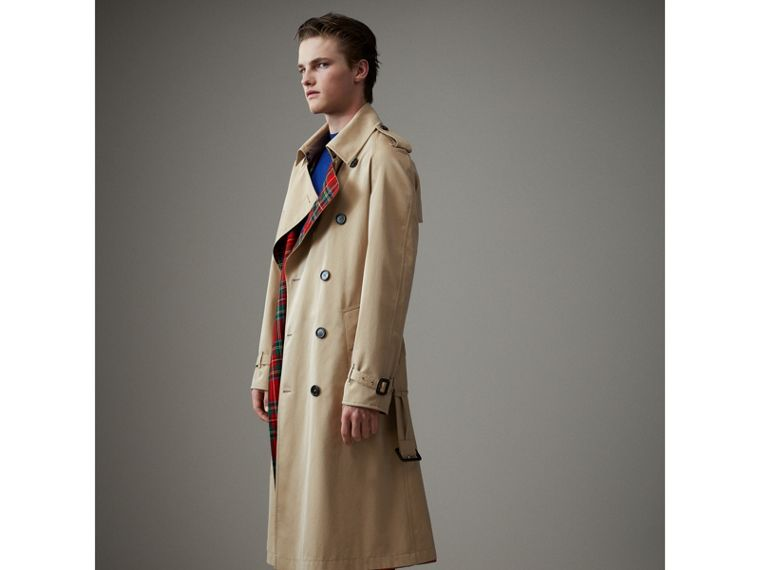 Tartan-lined Cotton Gabardine Trench Coat in Honey - Men | Burberry Singapore - cell image 4