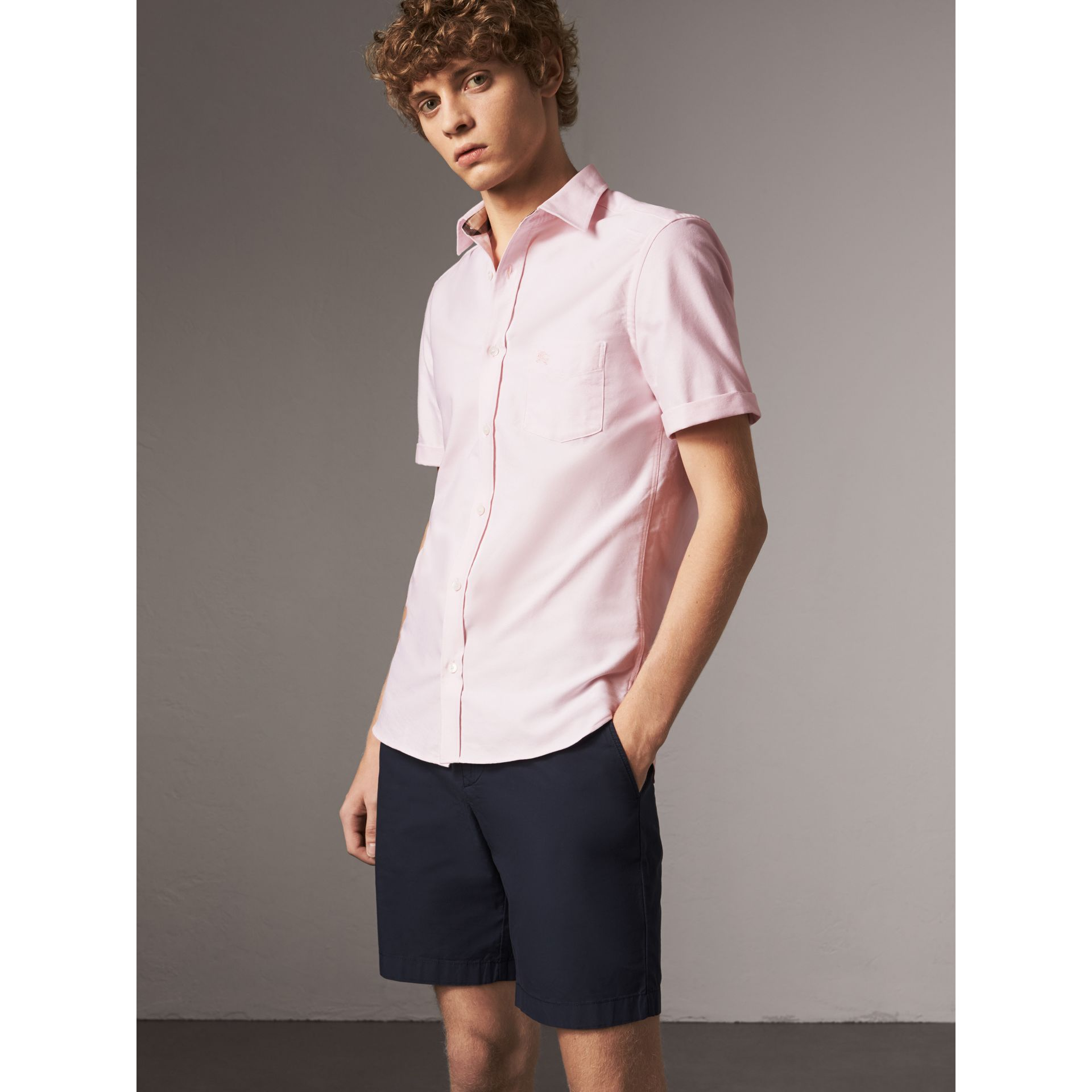 Check Detail Short-Sleeved Cotton Oxford Shirt in Pale Pink - Men | Burberry - gallery image 1