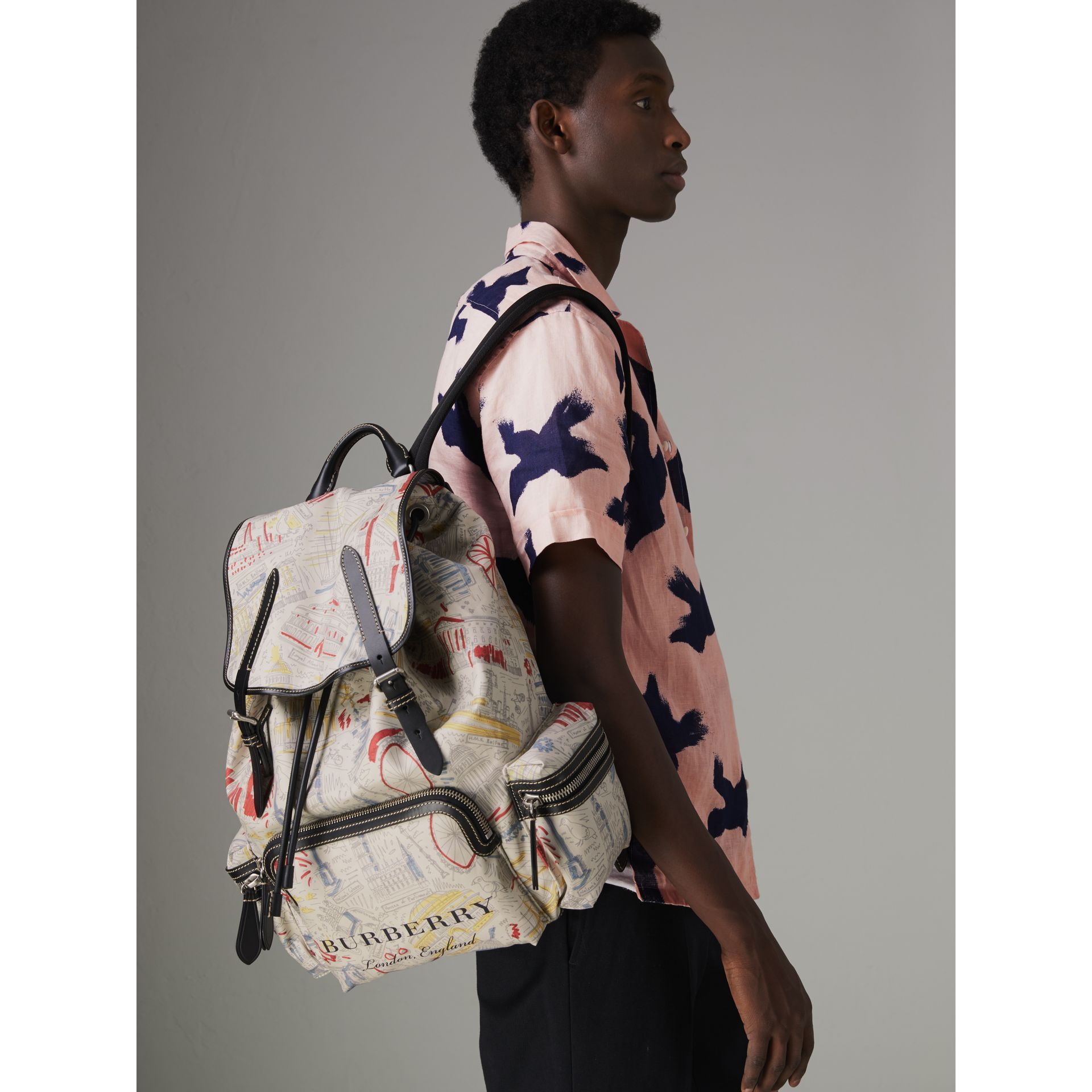 The Large Rucksack in London Print Canvas and Leather in Multicolour - Men | Burberry - gallery image 3