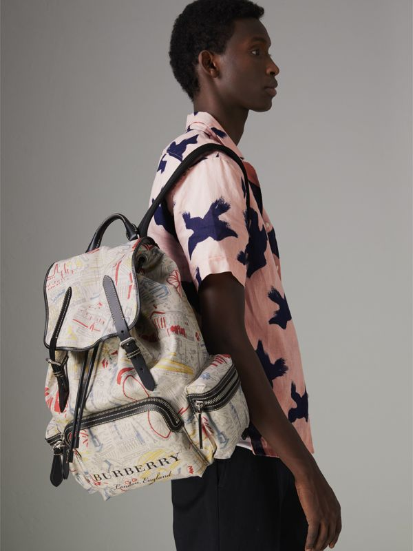 The Large Rucksack in London Print Canvas and Leather in Multicolour - Men | Burberry - cell image 3