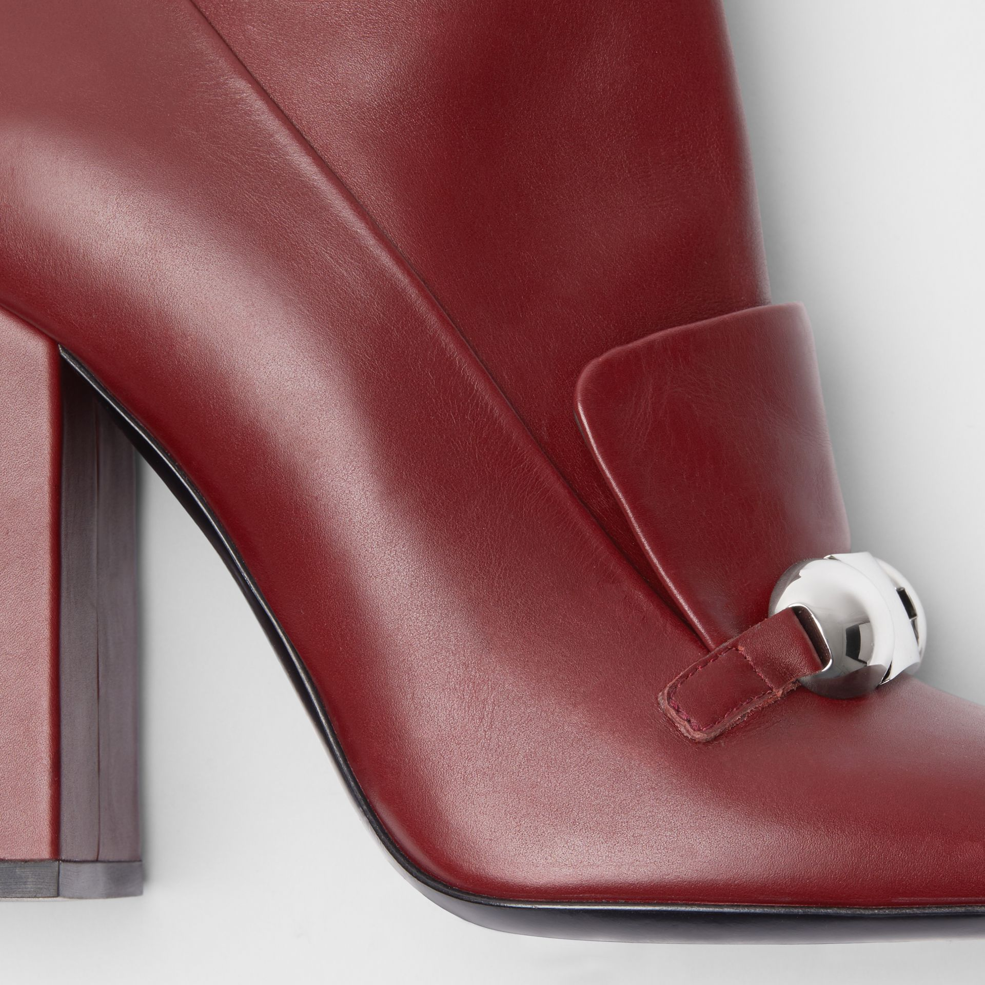 Studded Bar Detail Leather Ankle Boots in Bordeaux - Women | Burberry - gallery image 1