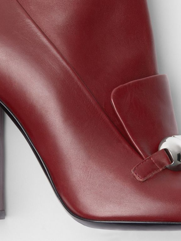 Studded Bar Detail Leather Ankle Boots in Bordeaux - Women | Burberry - cell image 1