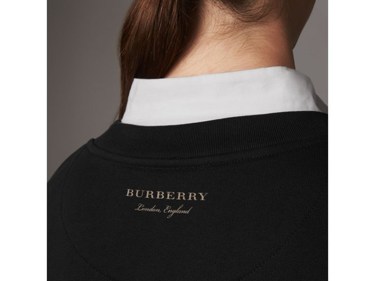 Ruffle-sleeve Cotton Sweater Dress in Black - Women | Burberry - cell image 4
