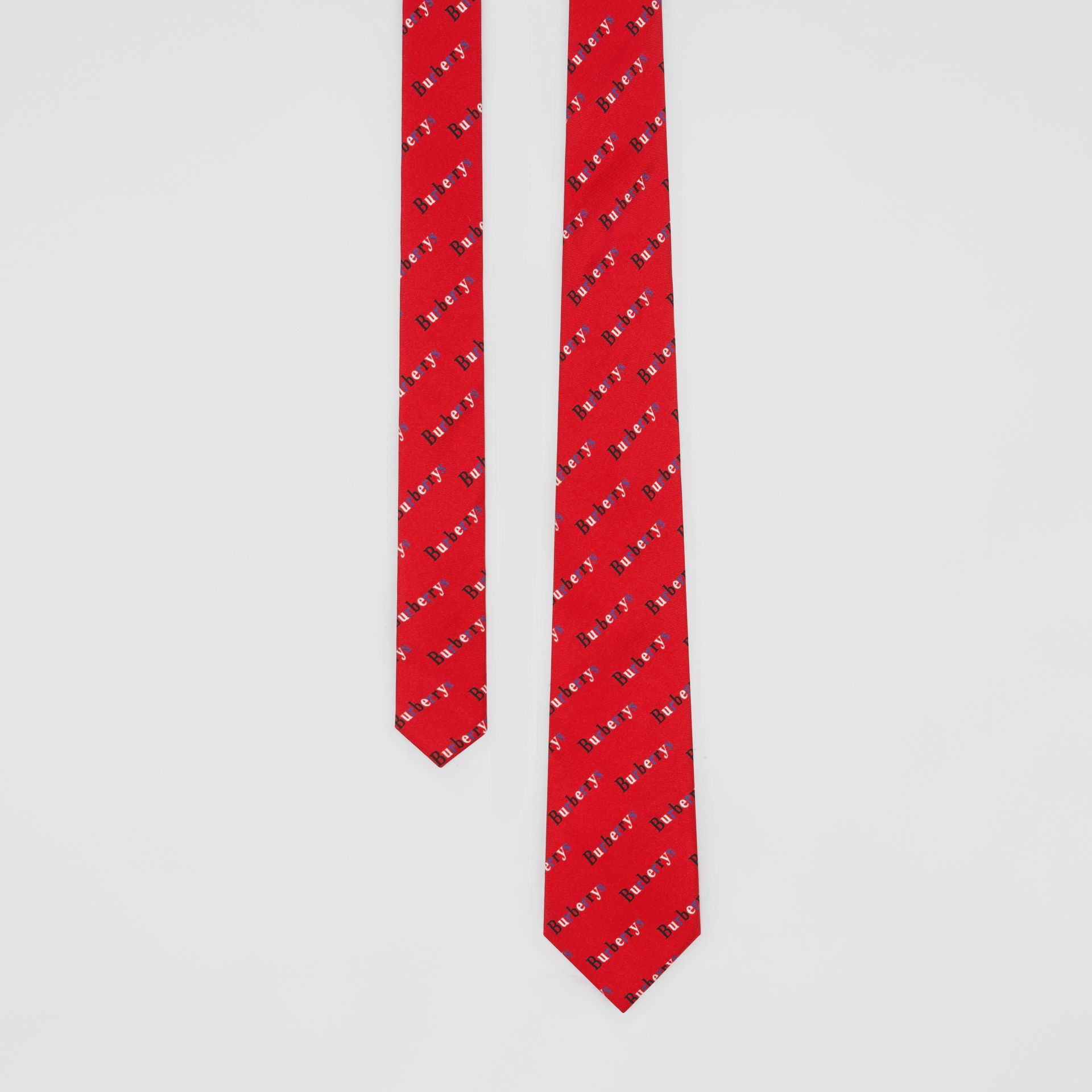 Modern Cut Archive Logo Print Silk Tie in Parade Red - Men | Burberry - gallery image 0