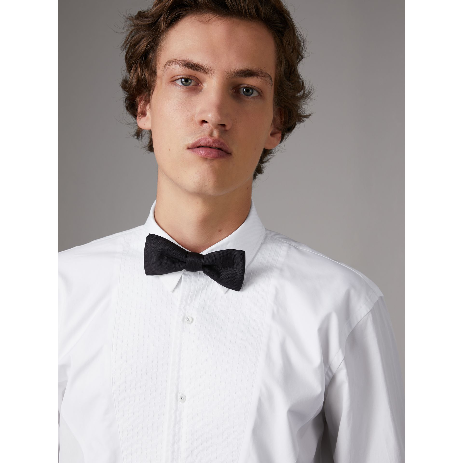 Modern Fit Pick-stitch Detail Bib Cotton Poplin Dress Shirt in White - Men | Burberry - gallery image 1