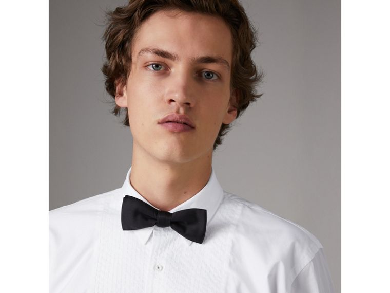 Modern Fit Pick-stitch Detail Bib Cotton Poplin Dress Shirt in White - Men | Burberry - cell image 1