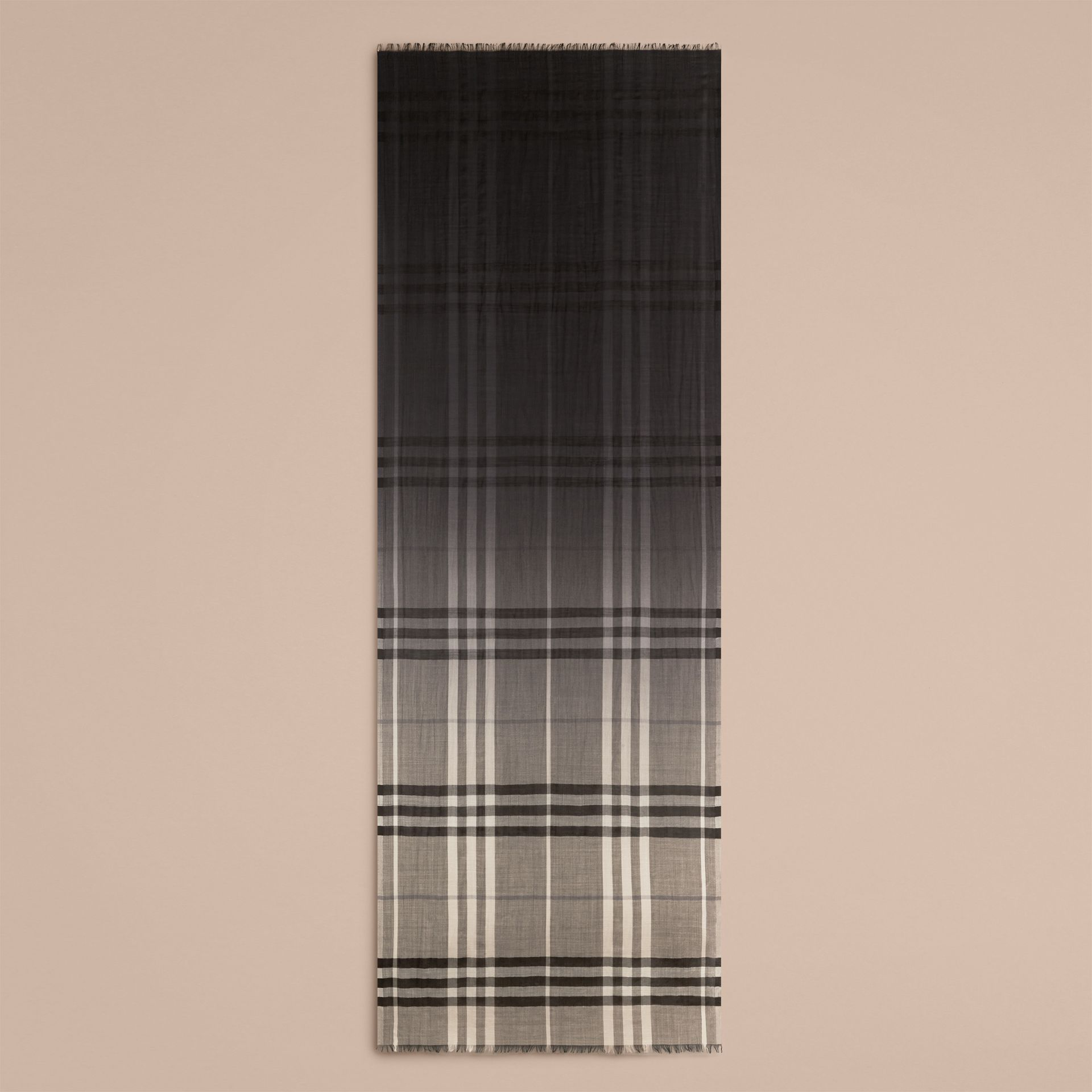 Charcoal check Ombré Check Lightweight Wool Silk Scarf Charcoal - gallery image 5
