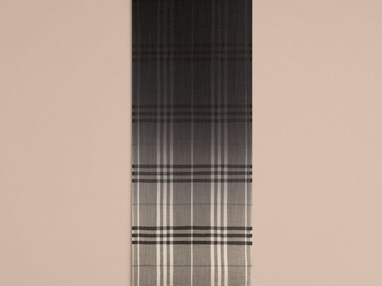 Charcoal check Ombré Check Lightweight Wool Silk Scarf Charcoal - cell image 4