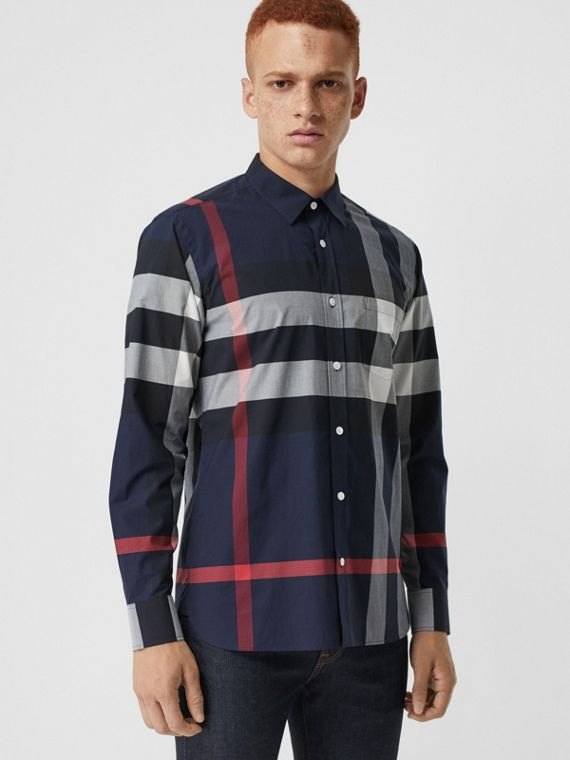 Check Stretch Cotton Shirt in Navy