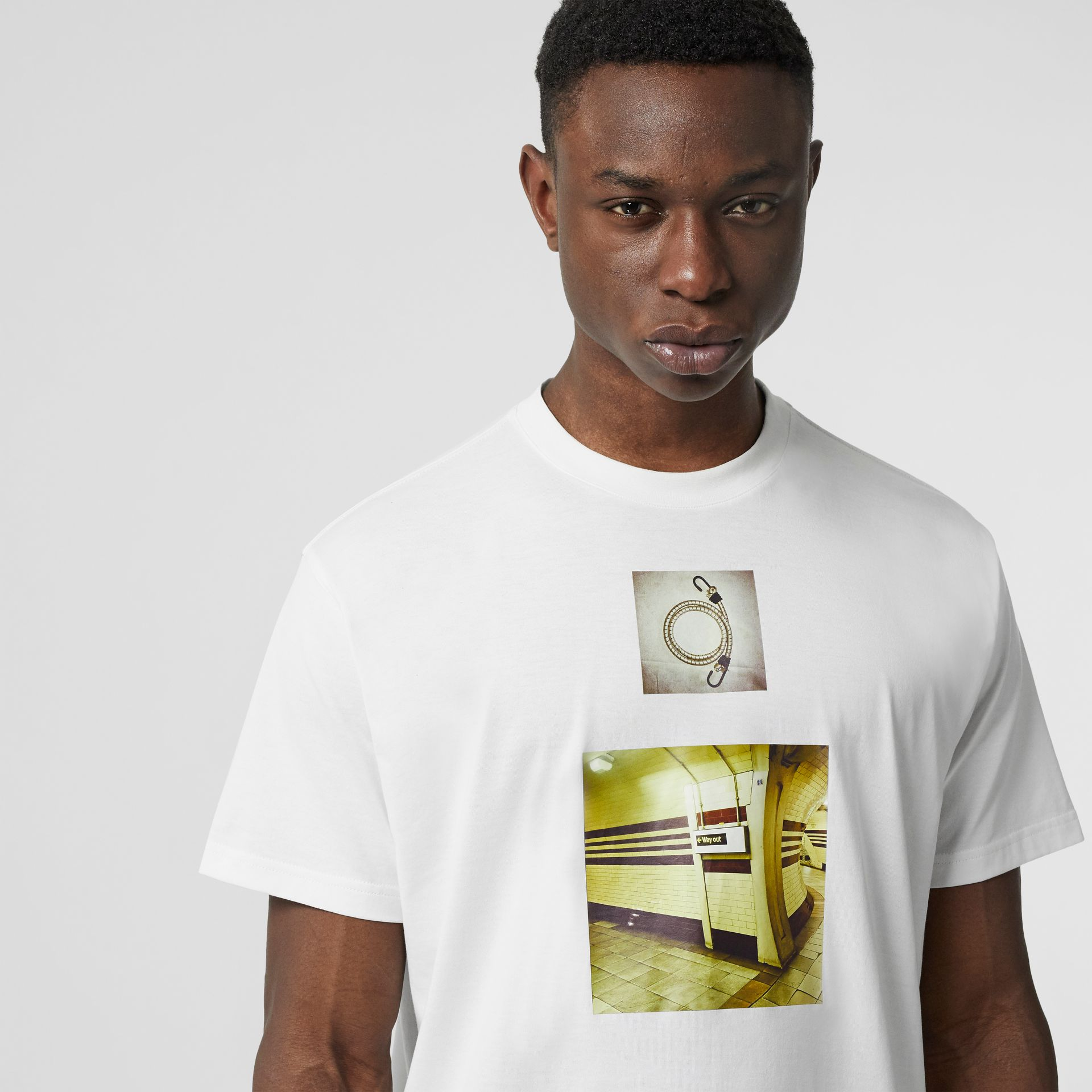 Montage Print Cotton Oversized T-shirt in White - Men | Burberry United Kingdom - gallery image 1