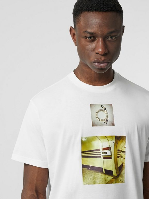Montage Print Cotton Oversized T-shirt in White - Men | Burberry - cell image 1