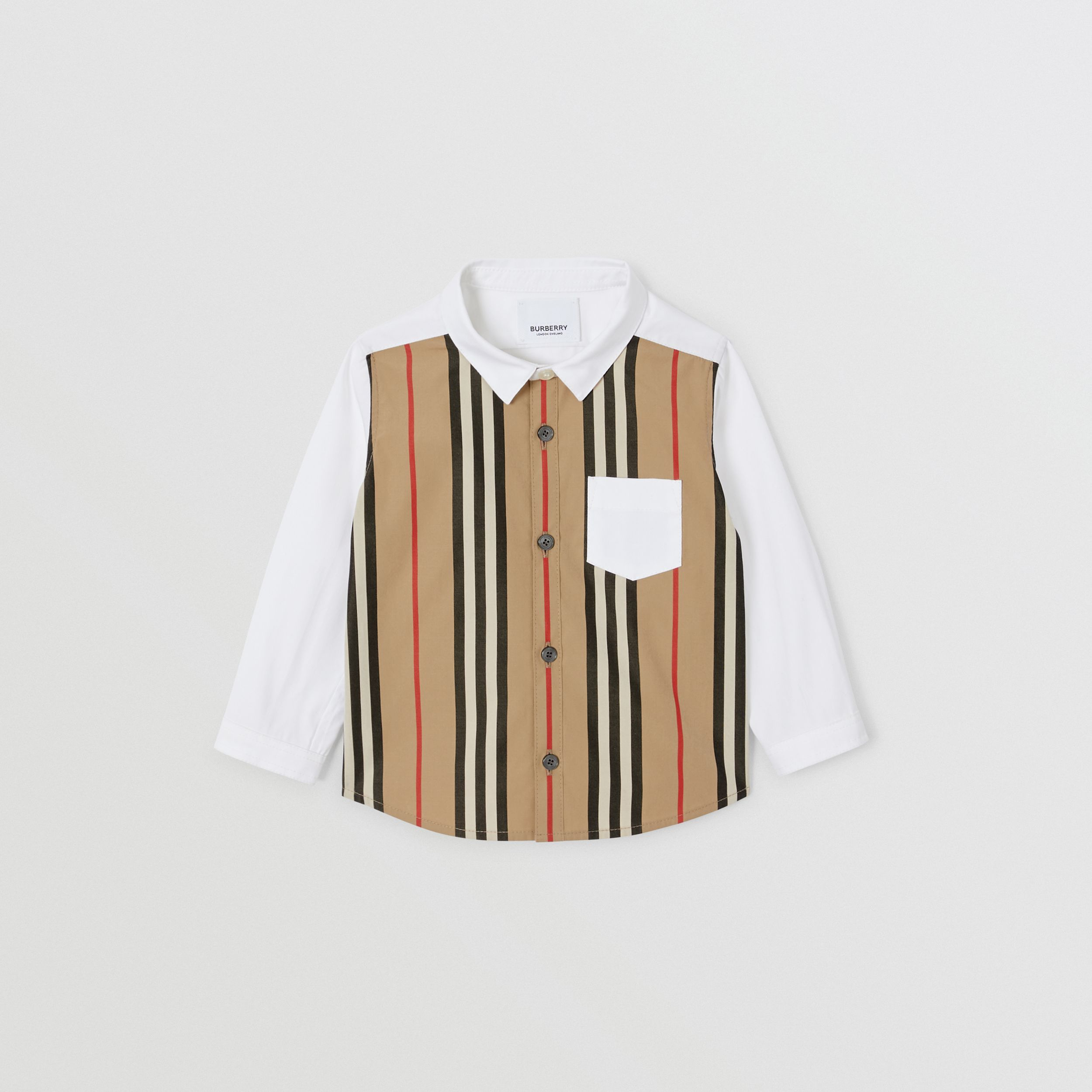 Icon Stripe Panel Stretch Cotton Shirt in White - Children | Burberry - 1