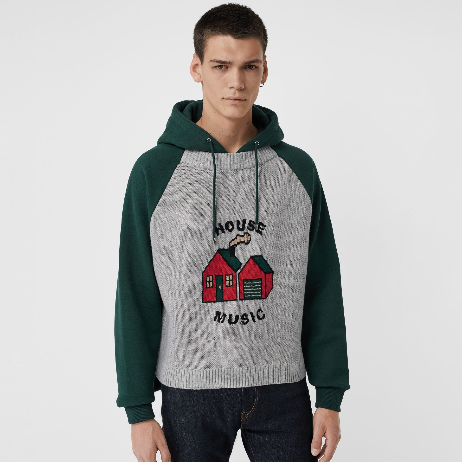 House Music Intarsia Jersey Hoodie in Forest Green - Men | Burberry Singapore - gallery image 5