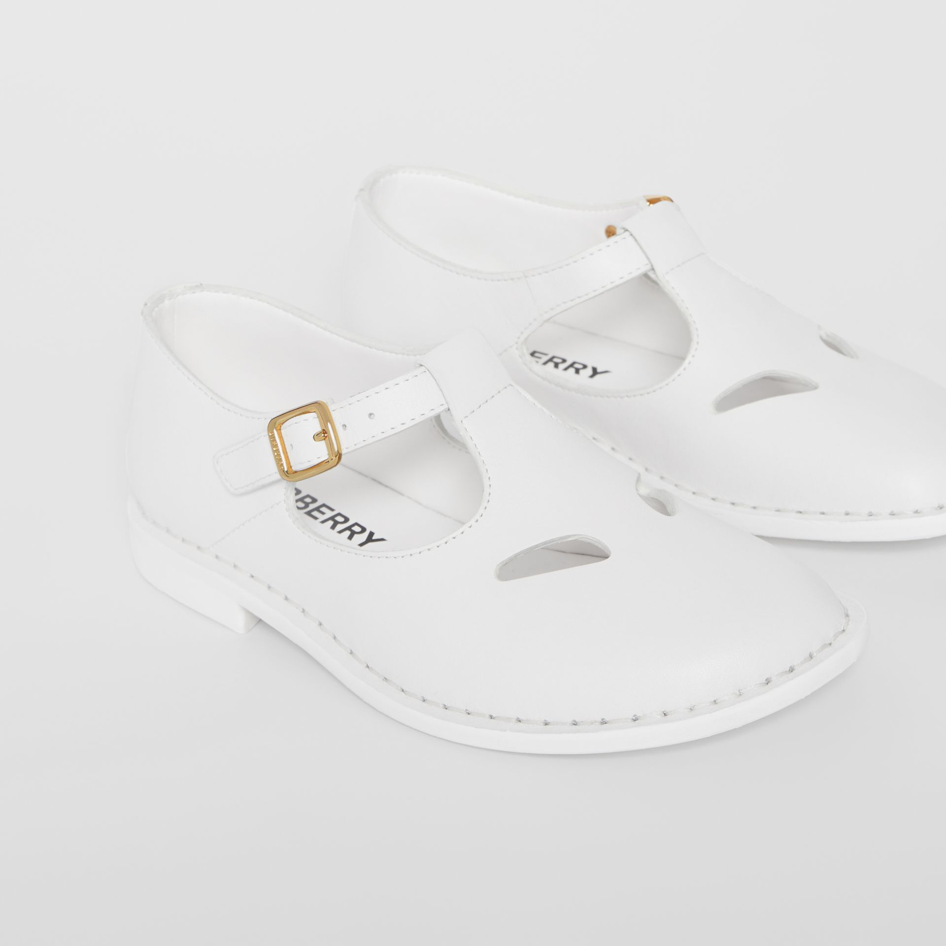 Leather T-bar Shoes in Optic White - Children | Burberry - gallery image 4