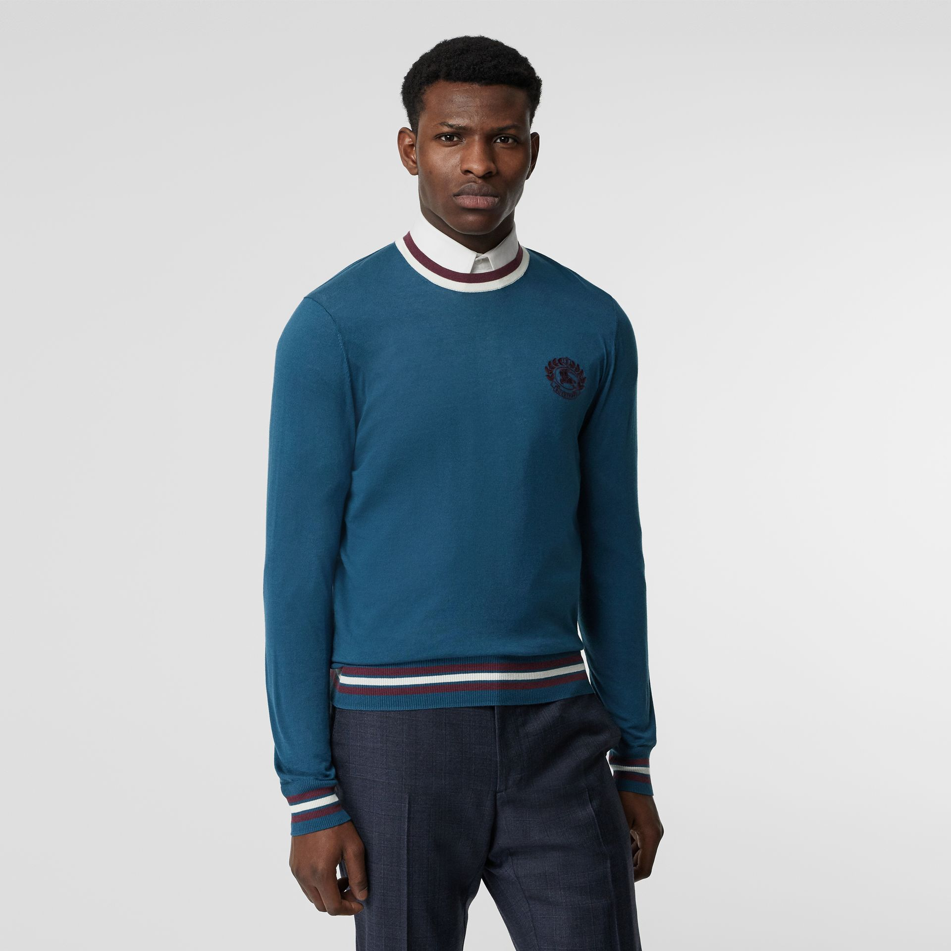 Embroidered Crest Cotton Silk Sweater in Dark Teal Blue - Men | Burberry - gallery image 5