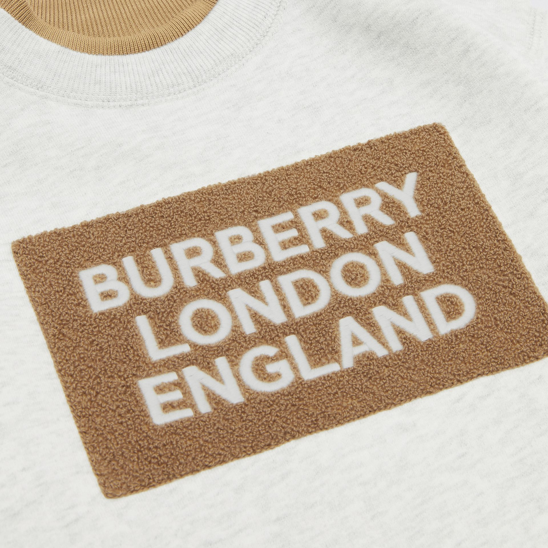 Logo Detail Jersey Sweater Dress in White Melange - Children | Burberry - gallery image 1