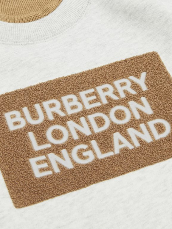 Logo Detail Jersey Sweater Dress in White Melange - Children | Burberry - cell image 1