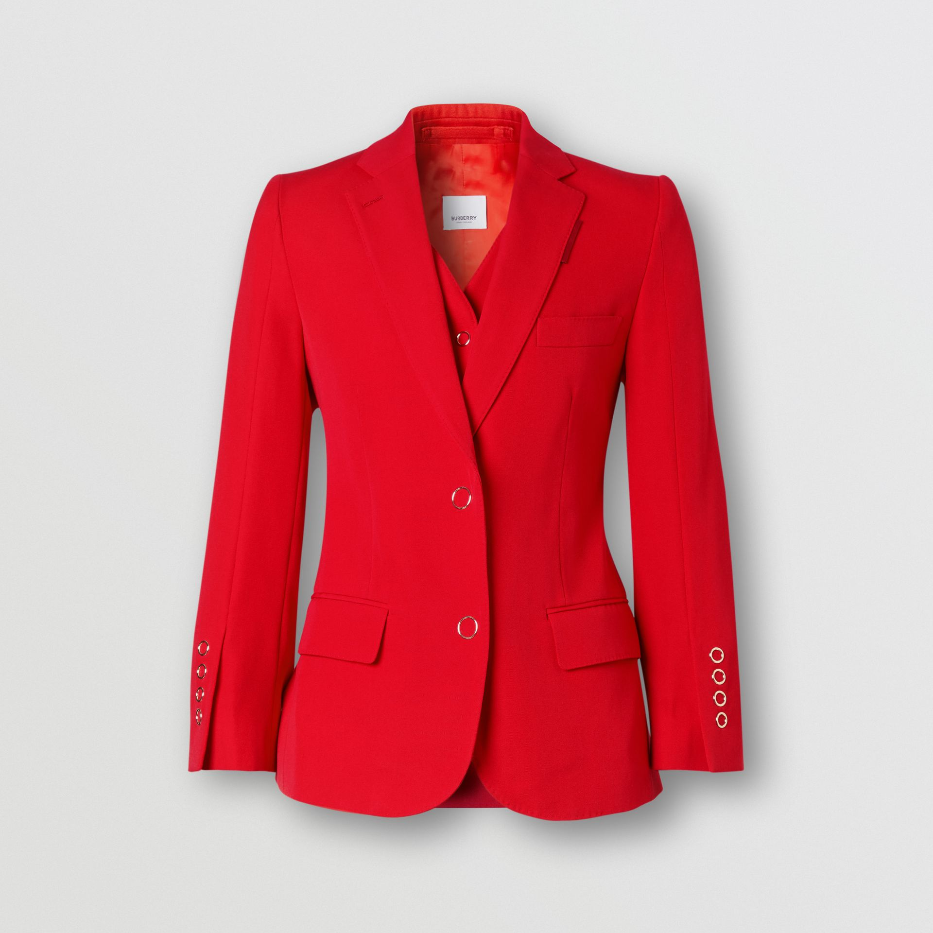 Waistcoat Panel Wool Tailored Jacket in Bright Red - Women | Burberry - gallery image 3