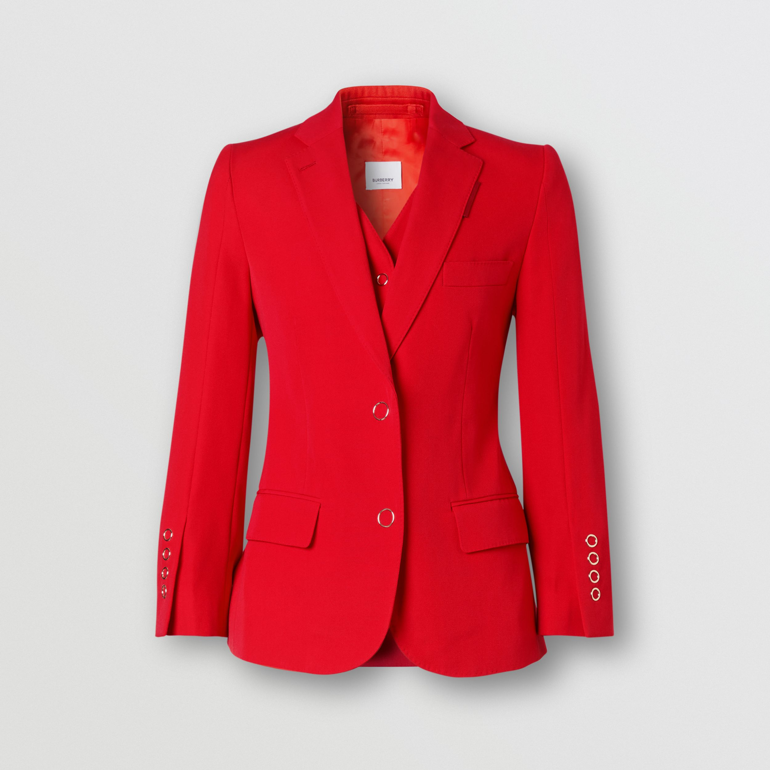 Waistcoat Panel Wool Tailored Jacket in Bright Red - Women | Burberry - 4