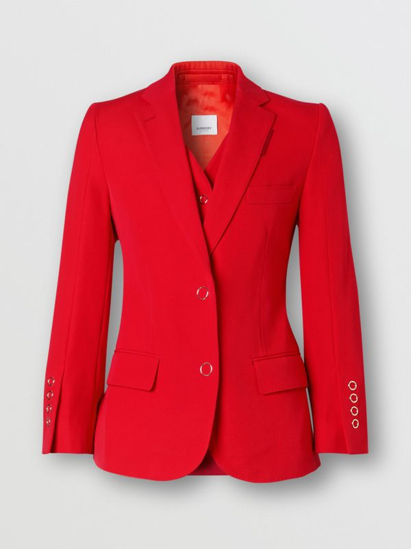 Waistcoat Panel Wool Tailored Jacket in Bright Red - Women | Burberry - cell image 3