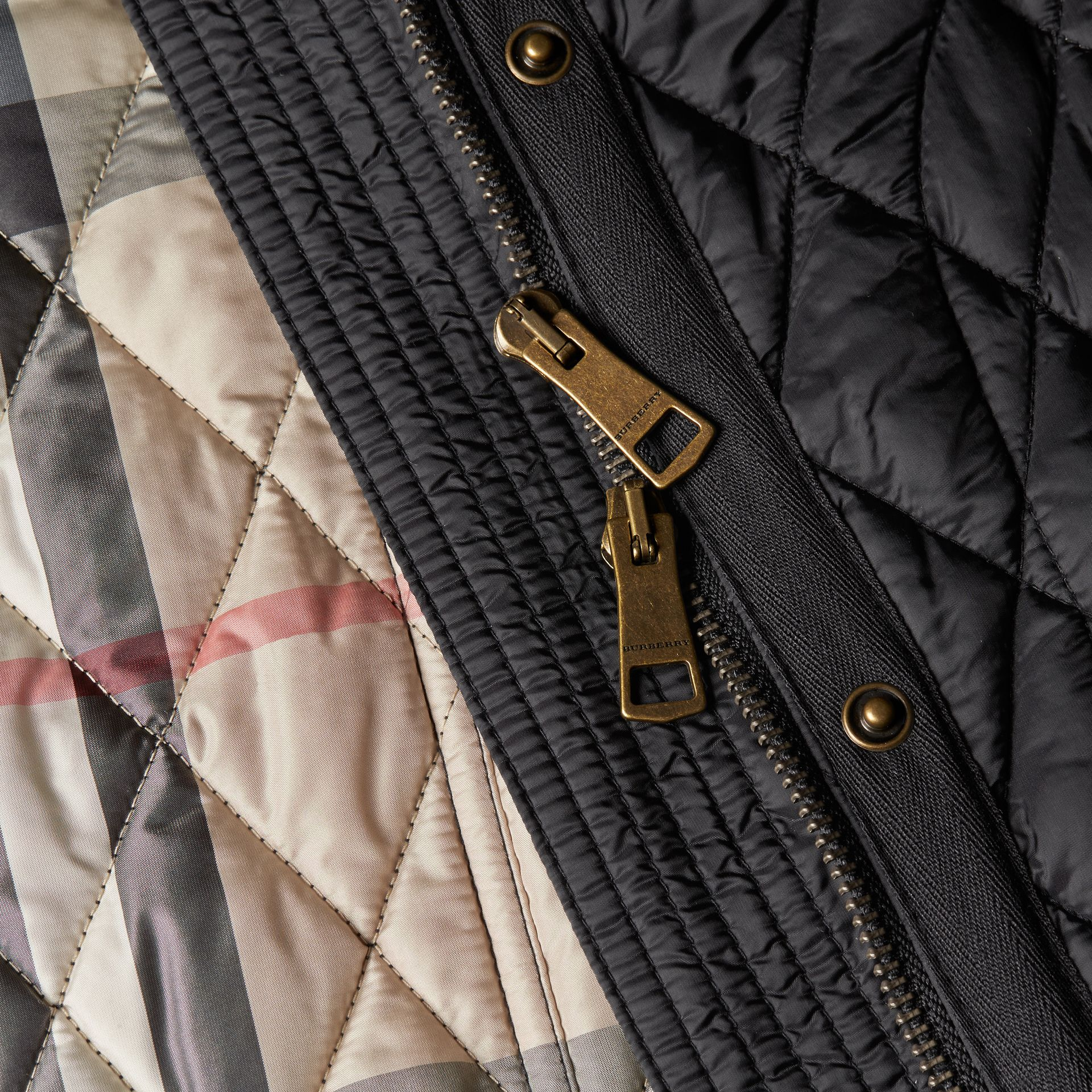 Diamond Quilted Coat Black - gallery image 2