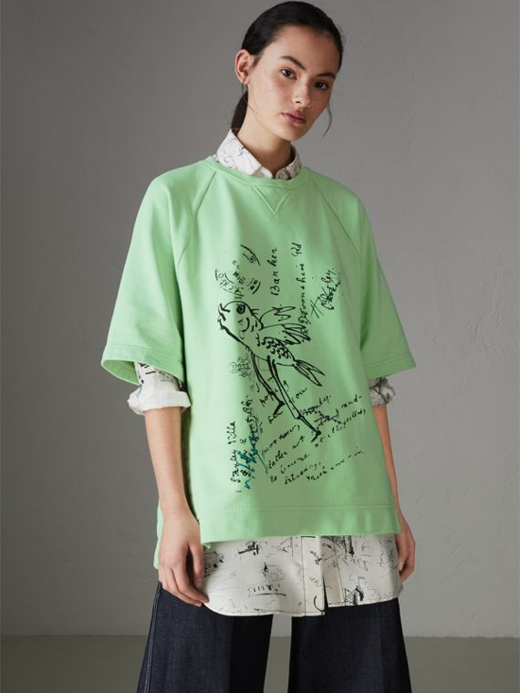 Postcard Print Cotton Jersey T-shirt in Mint Green