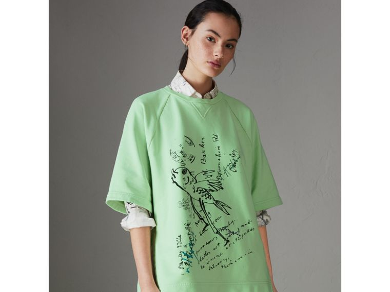 Postcard Print Cotton Jersey T-shirt in Mint Green - Women | Burberry - cell image 4