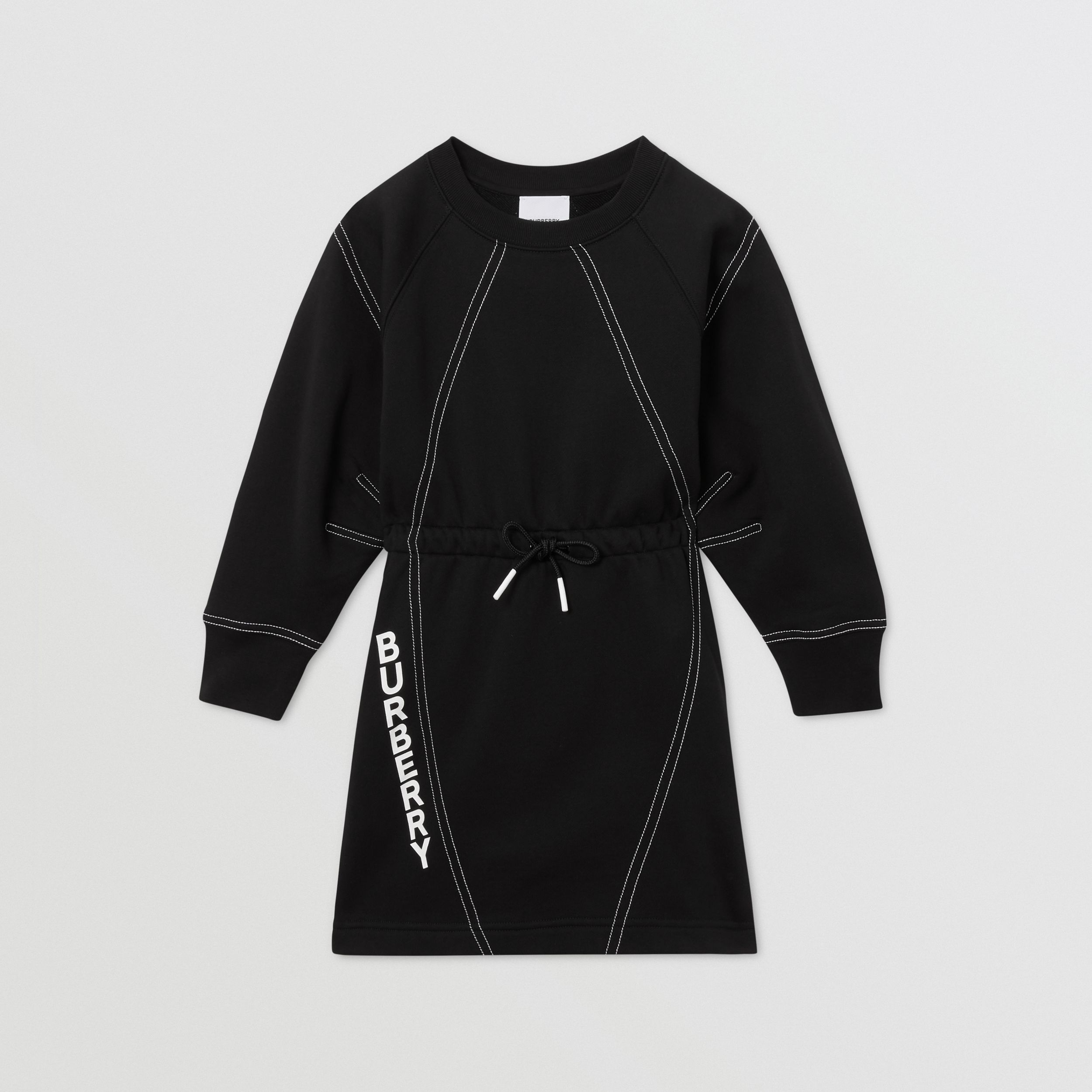 Long-sleeve Logo Print Cotton Dress in Black | Burberry Hong Kong S.A.R. - 1
